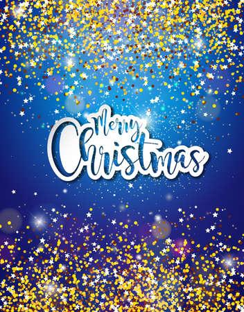 Merry Christmas Hand belettering illustratie met papieren etiket op glanzende Glittered achtergrond. Vector vakantie ontwerp