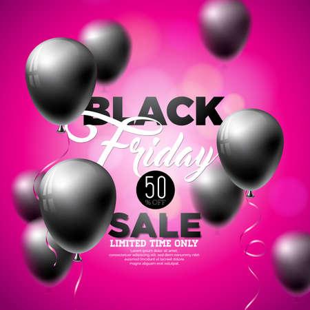Black Friday Sale Vector Illustration with Shiny Balloons on Violet Background. Illustration