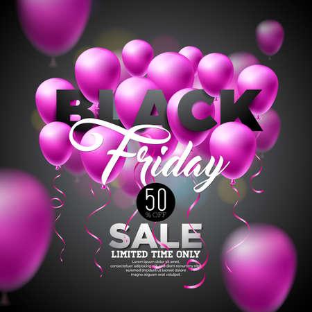 Black Friday verkoop vectorillustratie met glanzende ballonnen op donkere achtergrond. Stock Illustratie