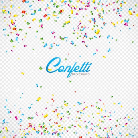 Colorful Vector Confetti Illustration on Transparent Background Illustration