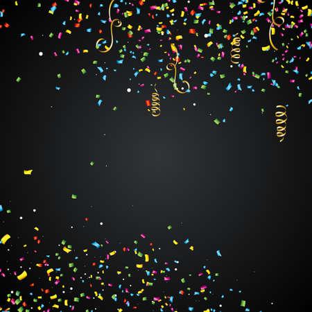 Abstracte vectorillustratie met kleurrijke confetti en lint op donkere achtergrond Stockfoto - 89141115