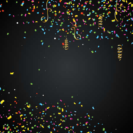 Abstract Vector Illustration with Colorful Confetti and Ribbon on Dark Background Illustration