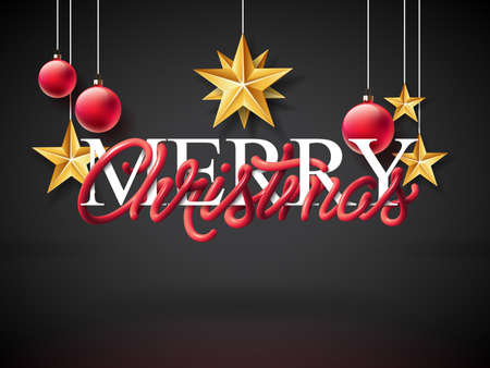 Merry Christmas Illustration with Intertwined Tube Typography Design and Gold Cutout Paper Star on Dark Background. Vector Holiday EPS 10 design.
