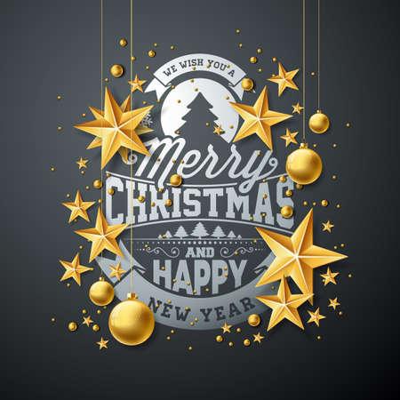 ベクトル クリスマス、新年イラスト タイポグラフィと暗い背景に素材の用紙の星。休日のグリーティング カード、ポスター、バナーのデザイン。
