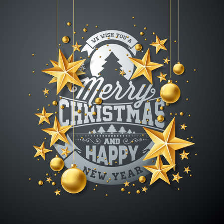Vector Christmas and New Year Illustration with Typography and Cutout Paper Stars on Dark Background. Holiday Design for Greeting Card, Poster, Banner.