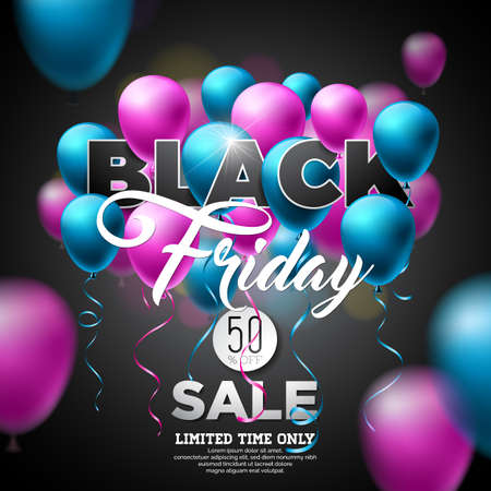 Black Friday Sale Vector Illustration with Shiny Balloons on Dark Background. Promotion Design Template for Banner or Poster. Illustration