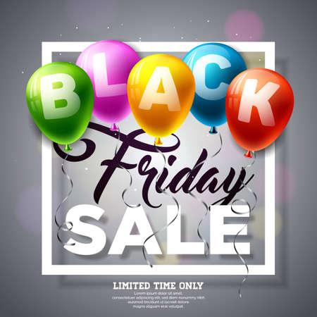 검은 색 바탕에 반짝이 풍선과 함께 검은 금요일 판매 벡터 일러스트 레이 션. 배너 또는 포스터 프로 모션 디자인 템플릿.