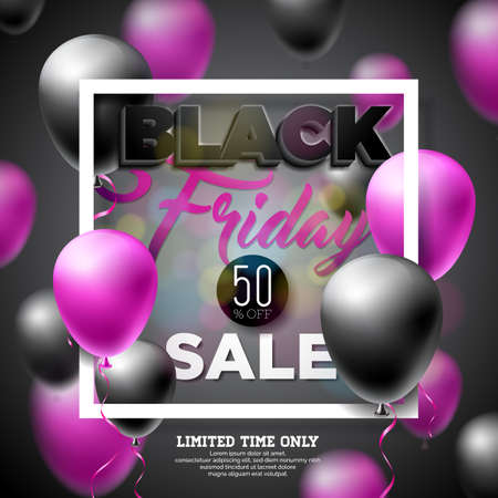 Black Friday Sale Vector Illustration with Shiny Balloons on Dark Background. Promotion Design Template for Banner or Poster. Stock Photo