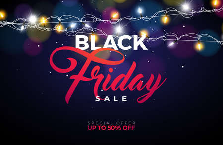 Black Friday Sale Vector Illustration with Lighting Garland on Shiny Background. Promotion Design Template for Banner or Poster.