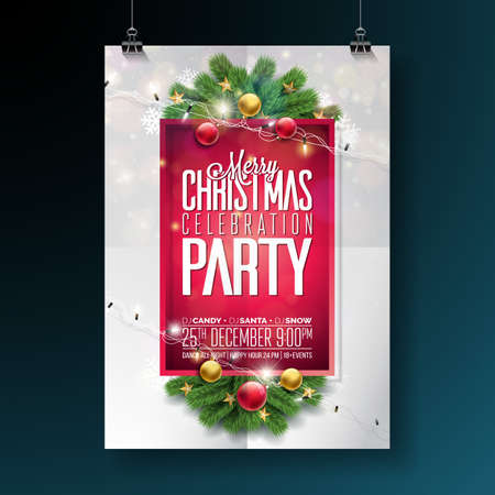 Vector Merry Christmas Party Design with Holiday Typography Elements and Ornamental Ball, Pine Branch, Lighting Girland on Red Background. Celebration Flyer Illustration. EPS 10. Illustration