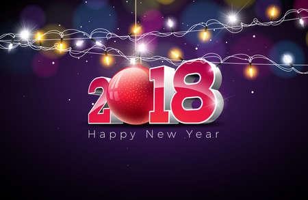 Vector Happy New Year 2018 Illustration on Shiny Colorful Background with Typography Design, Glass Ball and Lighting Garland. EPS 10. Illustration