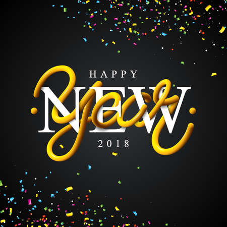 Happy New Year 2018 Illustration with Intertwined Tube Typography Design and Colorful Confetti on Black Background.