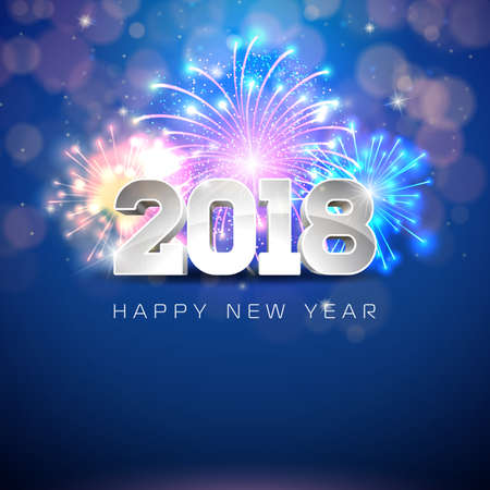 Happy New Year 2018 Illustration with Firework and 3d Text on Shiny Blue Background. Vector EPS 10.