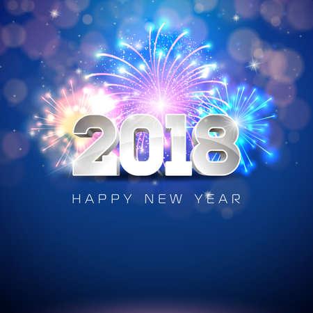 Guten Rutsch ins Neue Jahr-Illustration 2018 mit Feuerwerk und Text 3d auf glänzendem blauem Hintergrund. Vektor ENV 10.