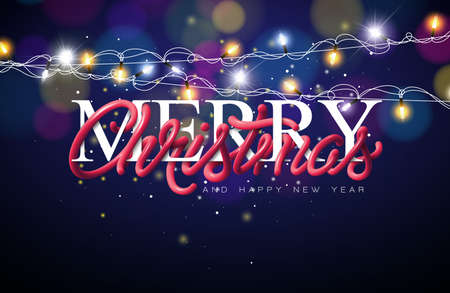 Merry Christmas Illustration with Intertwined Tube Typography Design and Lighting Garland on Shiny Blue Background. Vector Holiday EPS 10 design. Çizim