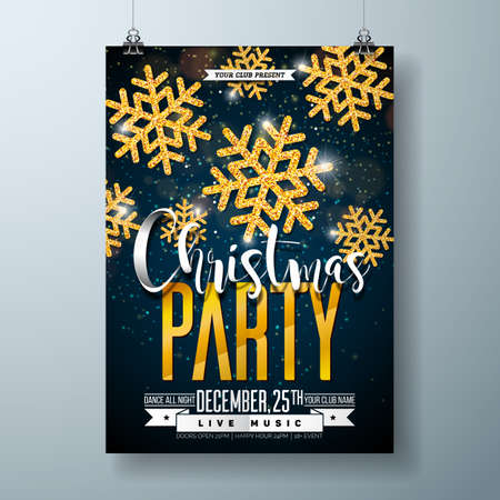 Vector Merry Christmas Party Poster Design Template with Holiday Typography Elements and Shiny Gold Snowflake on Dark Background. Ilustracja