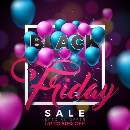 Ilustración del vector de la venta de Black Friday con los globos brillantes en fondo oscuro. Plantilla de diseño de promoción para Banner o cartel. Foto de archivo - 89863526