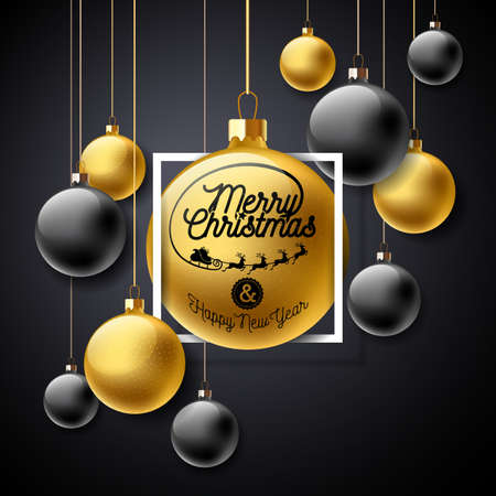 Vector Merry Christmas Illustration with Gold Glass Ball and Typography Elements on Black Background. Holiday Design for Premium Greeting Card, Party Invitation or Promo Banner. Stock Vector - 90927575