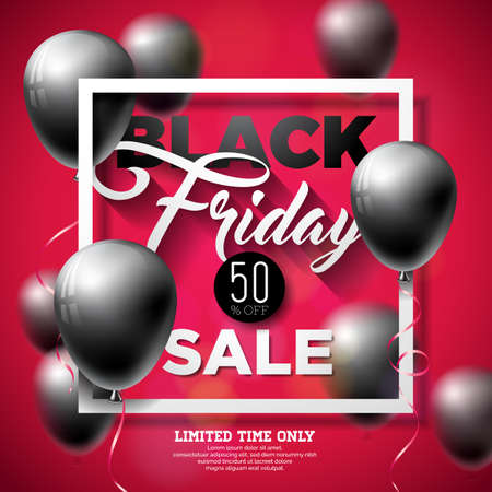 Black Friday Sale Vector Illustration with Shiny Balloons on Red Background. Promotion Design Template for Banner or Poster.