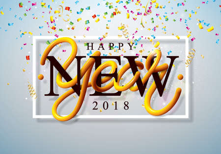 Happy New Year 2018 Illustration with Colorful Confetti and 3d Lettering on Shiny Light Background. Vector Holiday Design for Premium Greeting Card, Party Invitation or Promo Banner.
