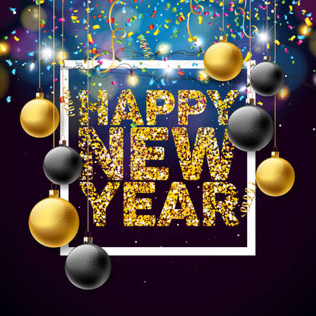 Vector Happy New Year 2018 Illustration with Shiny Golden Glittered Typography Design and Ornamental Balls Illustration