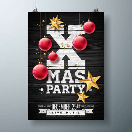 vector vector christmas party flyer design with holiday typography elements and ornamental ball cutout paper star on vintage wood background
