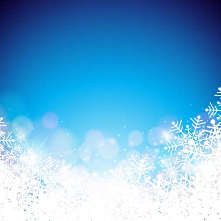 光沢のある青の背景に雪の結晶クリスマス テーマのベクトル図。