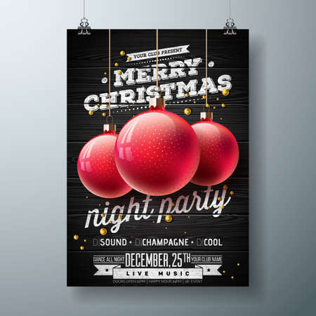 Vector Merry Christmas Night Party Illustration with Holiday Typography Elements and Red Ornamental Ball on Vintage Wood Background. Celebration Flyer Design.