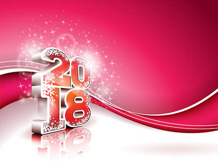 Vector Happy New Year 2018 Illustration on Shiny Red Background with 3d Number. Holiday Design for Premium Greeting Card, Party Invitation or Promo Banner. Stock Photo