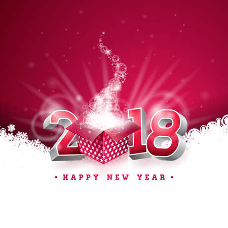 Vector Happy New Year 2018 Illustration with Gift Box and 3d Number on Shiny Red Background. Holiday Design for Premium Greeting Card, Party Invitation or Promo Banner. Stock Photo