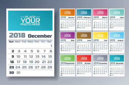 Vector Calendar 2018 Template Illustration with Place for Photo on White Background. Week Starts on Sunday. Set of 12 Months. Stock Photo