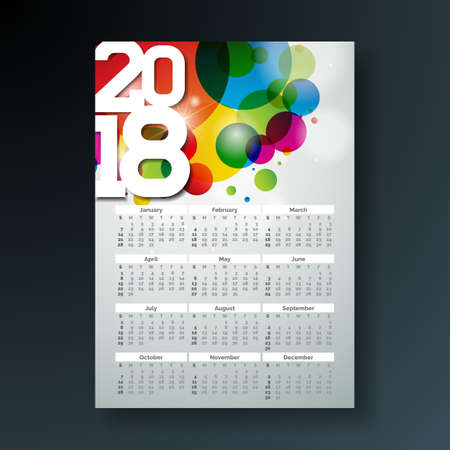 Vector Calendar 2018 Template Illustration with White Number on Abstract Colorful Background. Week Starts on Sunday. Stock Photo