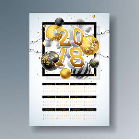 Vector Calendar 2018 Template Illustration with Gold 3d Number, Christmas Ball and Light Garland on Shiny Background. Week Starts on Sunday.