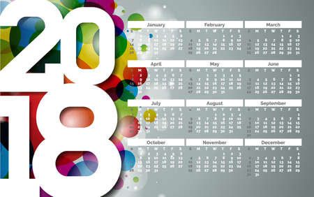 Vector Calendar 2018 Template Illustration with White Number on Abstract Colorful Background. Week Starts on Sunday. 스톡 콘텐츠