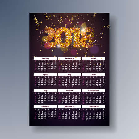 Vector Calendar 2018 Template Illustration with Shiny Sparkling Number on Falling Confetti Background. Week Starts on Sunday,
