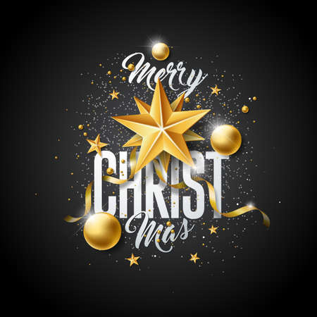 Vector Merry Christmas Illustration with Gold Glass Ball, Cutout Paper Star and Typography Elements on Black Background. Holiday Design for Premium Greeting Card, Party Invitation or Promo Banner