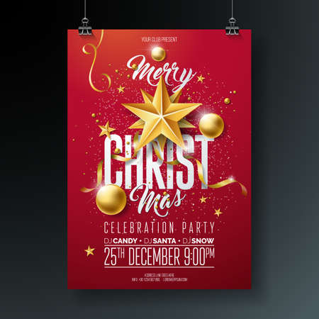 Vector Merry Christmas Party Flyer Illustration with Holiday Typography Elements and Gold Ornamental Ball, Cutout Paper Star on Red Background. Celebration Poster Design. EPS10.