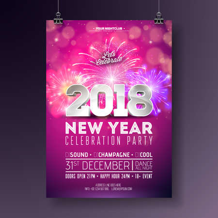 New Year Party Celebration Poster Template Illustration with 3d 2018 Number and Firework on Shiny Colorful Background. Vector Holiday Premium Invitation Flyer or Promo Banner.