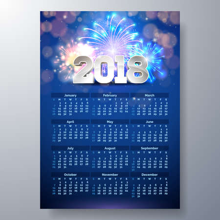 2018 Calendar Template Illustration with 3d Number on Shiny Fireworks Background. Week Starts on Sunday. Vector Design.