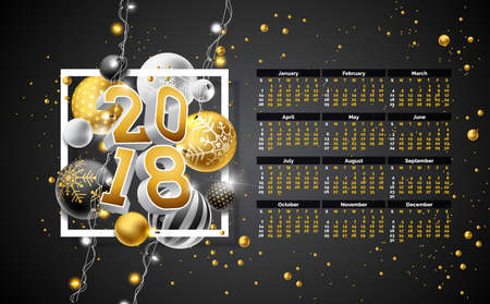 Vector Calendar 2018 Template Illustration with Gold 3d Number, Christmas Ball and Light Garland on Black Background. Week Starts on Sunday.