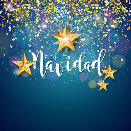スペインのフェリズナビダタイポグラフィと光沢のある青い背景にゴールドカットアウトペーパースターとクリスマスイラスト。プレミアムグリー  イラスト・ベクター素材