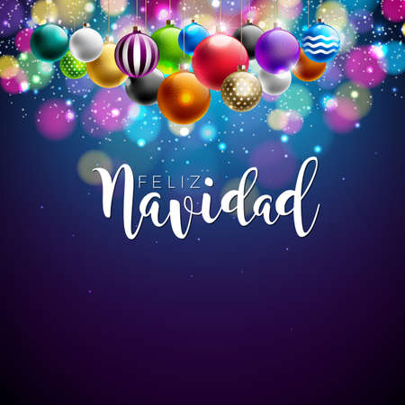 Christmas illustration with Spanish Feliz Navidad typography and gold cutout paper star, glass ball on black vintage wood background. Vector holiday design for premium greeting card, party invitation. Illustration