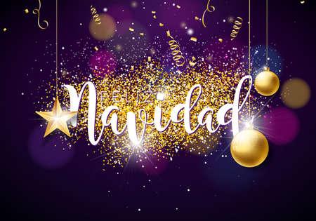 スペイン語フェリス ・ ナヴィダ タイポグラフィとゴールド素材紙スター、ガラス ボール ビンテージ木製黒地にクリスマス イラスト。プレミアム   イラスト・ベクター素材