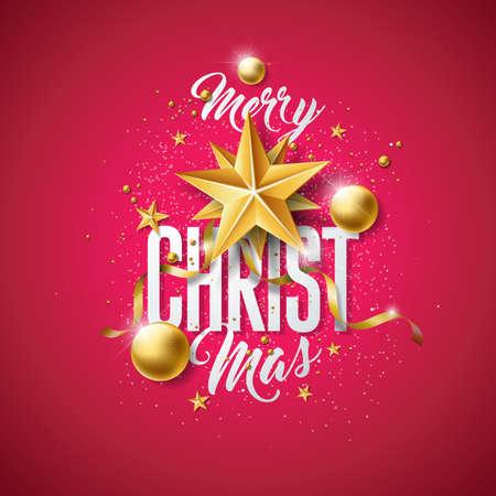 金のガラスボール、切り抜き紙の星と赤い背景にタイポグラフィ要素とベクトルメリークリスマスのイラスト。プレミアムグリーティングカード、