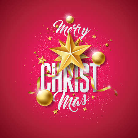 Vector Merry Christmas illustration with gold glass ball, cutout paper star and typography elements on red background. Holiday design for premium greeting card, party invitation or promo banner.