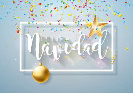 Christmas Illustration with Spanish Feliz Navidad Typography and Gold Cutout Paper Star, Ornamental Ball on Shiny Light Background. Vector Holiday Design for Premium Greeting Card, Party Invitation or Promo Banner. Illustration