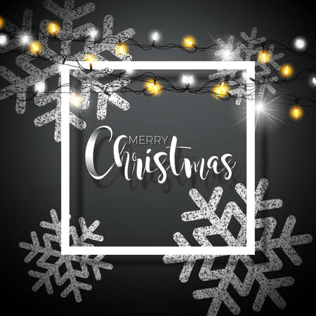 Christmas Background with Typography and Shiny Glittered Snowflake and Holiday Light Garland on Black Background. Vector Holiday Illustration for Premium Greeting Card, Party Invitation or Promo Banner Illustration