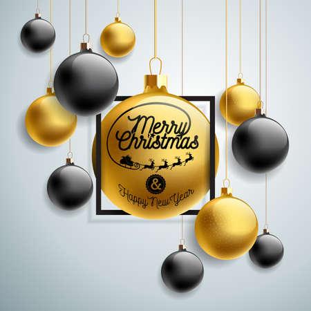 光の背景にゴールドガラスボールとタイポグラフィ要素を持つベクトルメリークリスマスイラスト。プレミアムグリーティングカード、パーティー  イラスト・ベクター素材