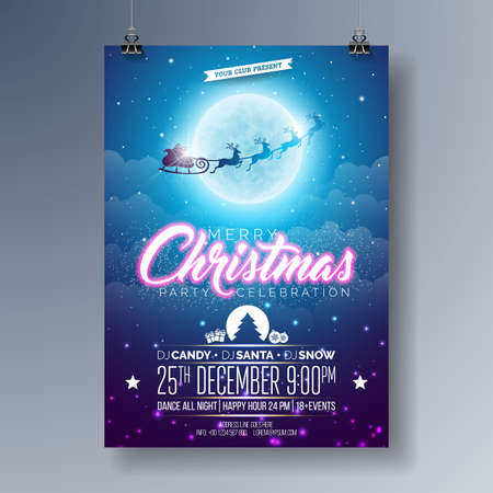 Vector Merry Christmas Party Flyer Illustration with Flying Santa in the Moon on Blue Night Sky Background. Premium Celebration Poster Illustration
