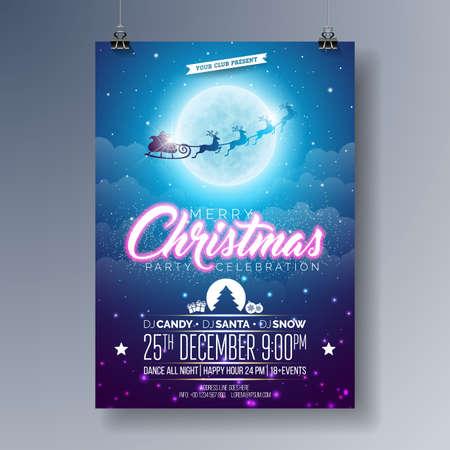Vector Merry Christmas Party Flyer illustratie met vliegende kerstman in de maan op blauwe nacht hemelachtergrond. Premium Celebration Poster Illustratie